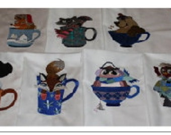 Coffee Cup Critters Machine Embroidered Quilt Block Set