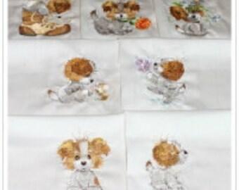 Scruffy Puppies Machine Embroidered Quilt Blocks Set