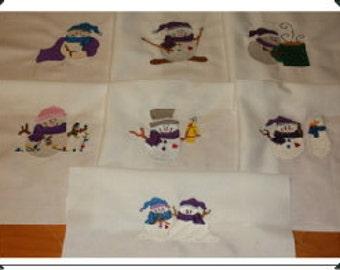 Snow Buddies Machine Embroidered Quilt Blocks Set