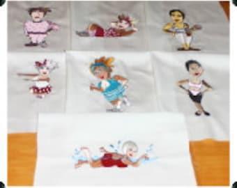 Loralie Designs Exercise Ladies Machine Embroidered Quilt Blocks Set B