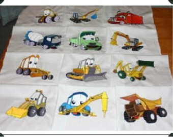 Monster Trucks Machine Embroidered Quilt Blocks Set
