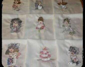 I Do I Do Wedding Machine Embroidered Quilt Blocks Set