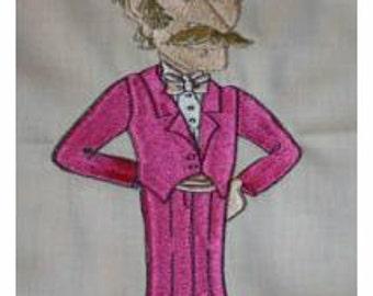 Senior Prom Gents Machine Embroidered Quilt Blocks Set