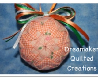 Handmade Spring Peaches Quilted Ornament SALE