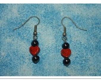 Hematite and Jasper Heart Earrings SALE