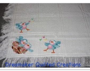 Baby Blue Birds Cross-Stitch Baby Blanket