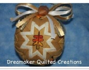 Handmade Fall Oak Leaf Quilted Ornament