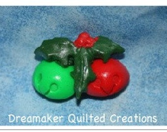 Jingle Bells and Holly FIMO Clay Pin