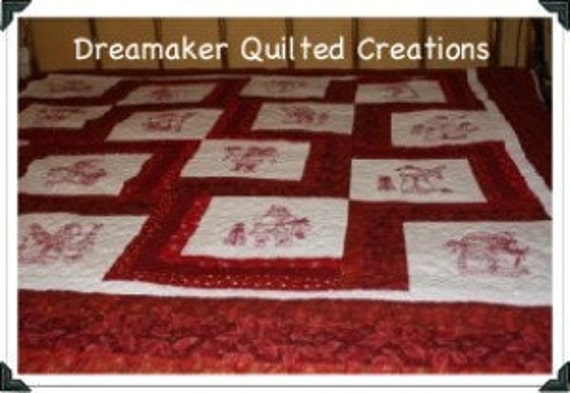 Santa Clause is Coming to Town Red Work Queen Size Holiday Quilt
