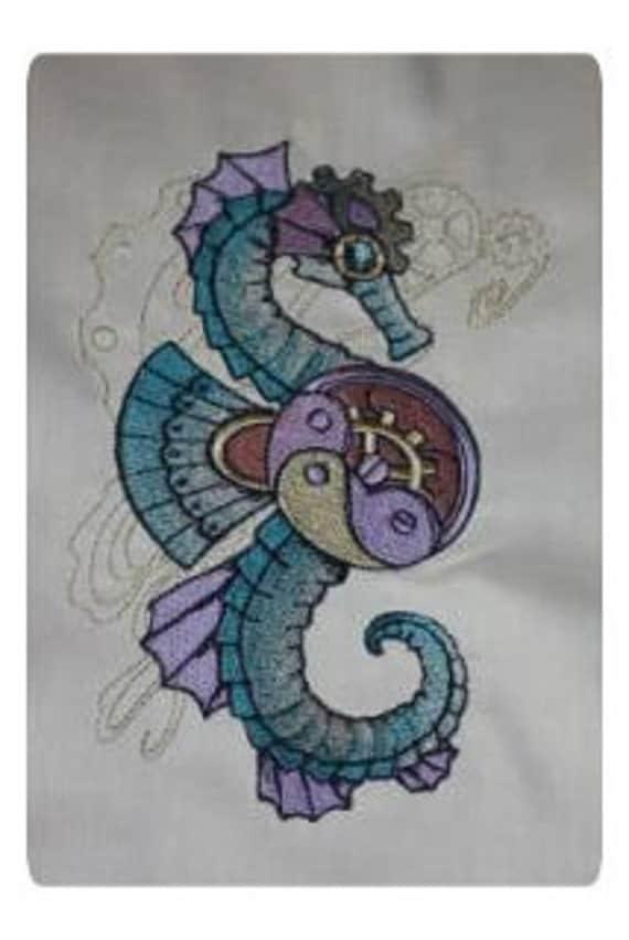 Steampunk Under the Sea Machine Embroidered Quilt Blocks Set