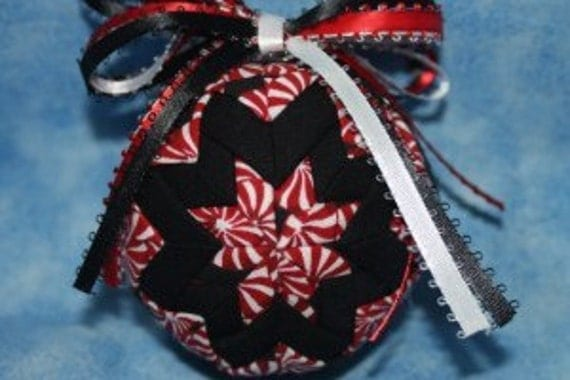 Handmade Black and Red Peppermint Candy Christmas Quilted Ornament