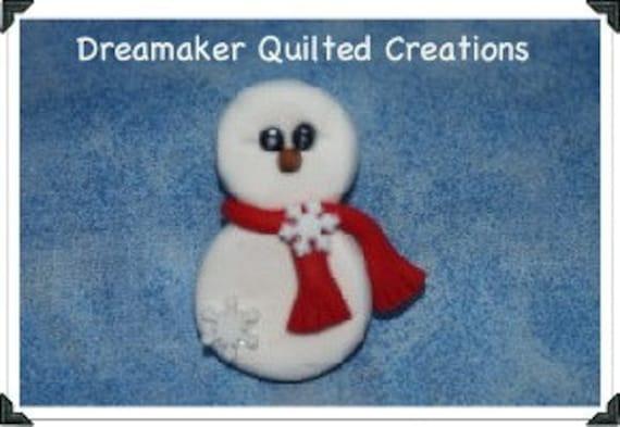 Handmade Frosty Snowman Snowflake Pin