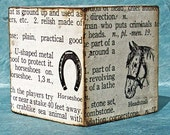 Vintage Dictionary Large Text Block (Horses)