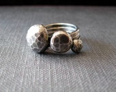 Silver pebble ring three faceted stack rings in sterling silver
