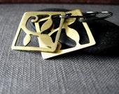 Lightweight brass earrings handcut brass and sterling silver