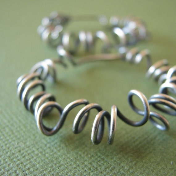 Sterling silver hoops organic freeform fun  XL Curled Hoops