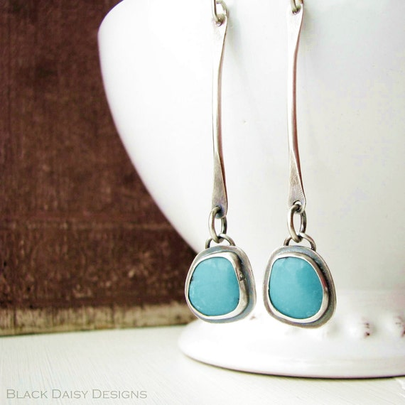 Long dangly sterling silver earrings with lovely blue turquoise cabochons