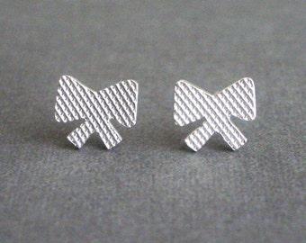 Sterling Silver Ribbon Bow Post Earrings