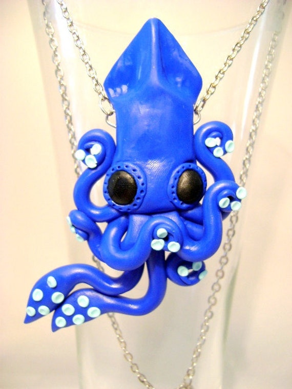 Squid Necklace Blue For You (Hand sculpted)