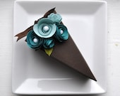 Reserved listing - PAPER Chocolate cake slice favor box with two toned blue flowers (1 slice).