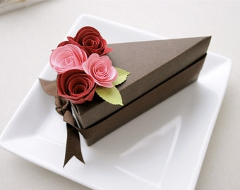 PAPER Chocolate cake slice favor box with pink and red flowers (1 slice).  Wedding and shower favor boxes.