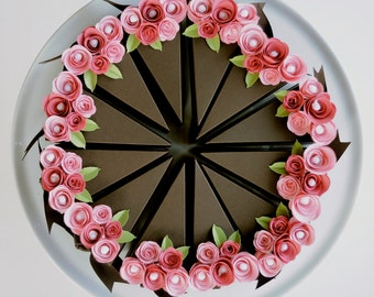 Paper chocolate cake slice favor box with two toned pink flowers. 12 slices {made to order}