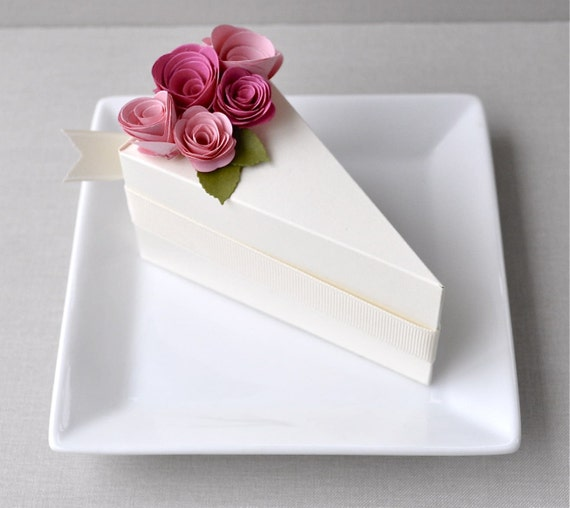 SALE Garden Party Series - PAPER Cream cake wedding favor box with blossom and fuchsia flowers (1 slice)