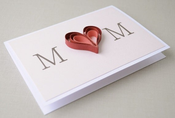 As sold in ANTHROPOLOGIE stores May 2012. Mother heart card - red, dark pink, light pink, quilling, blank card.
