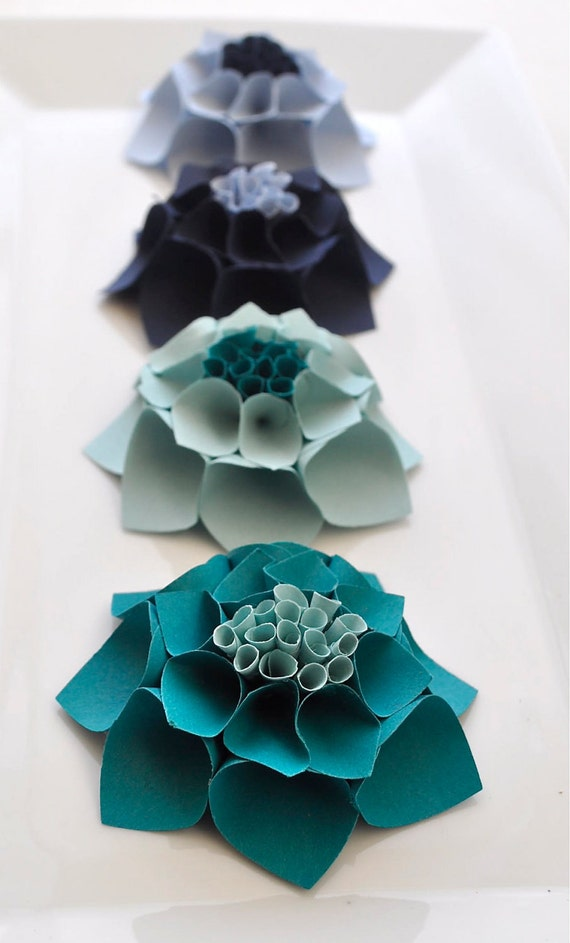 The Katie Set - Paper dahlia flower gift topper/table decor/place card setting in blue hues