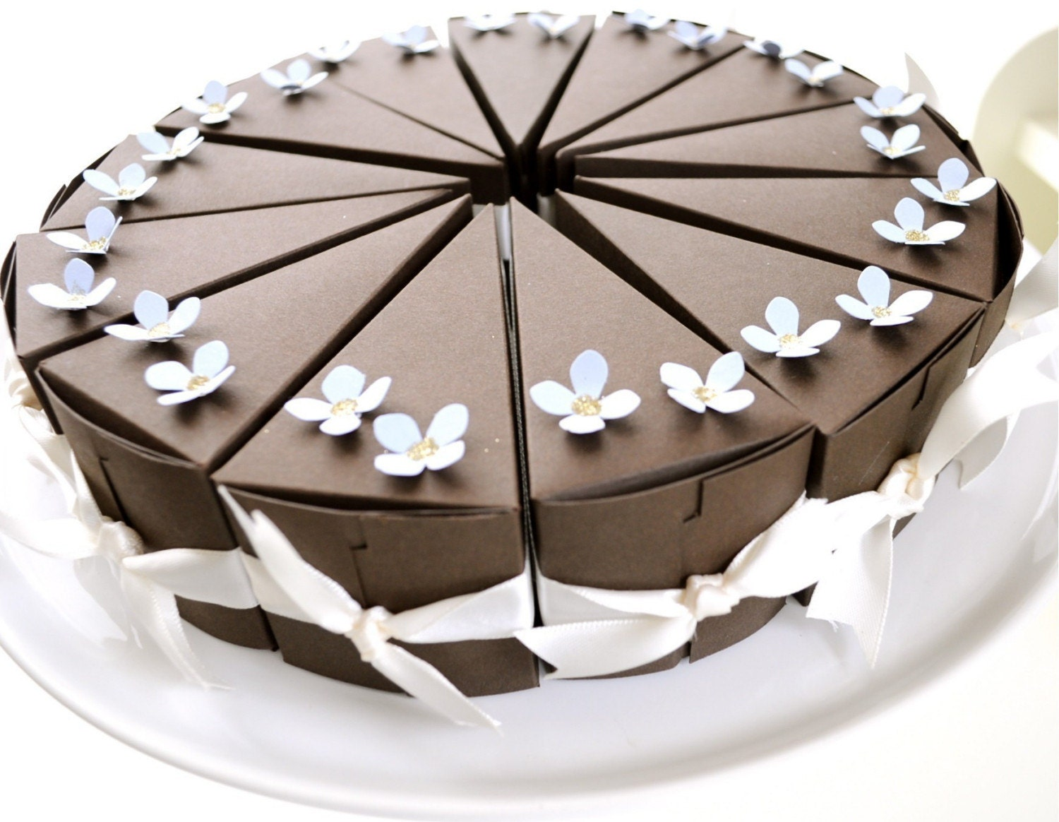 Chocolate paper cake with blue flowers SALE AND FREE