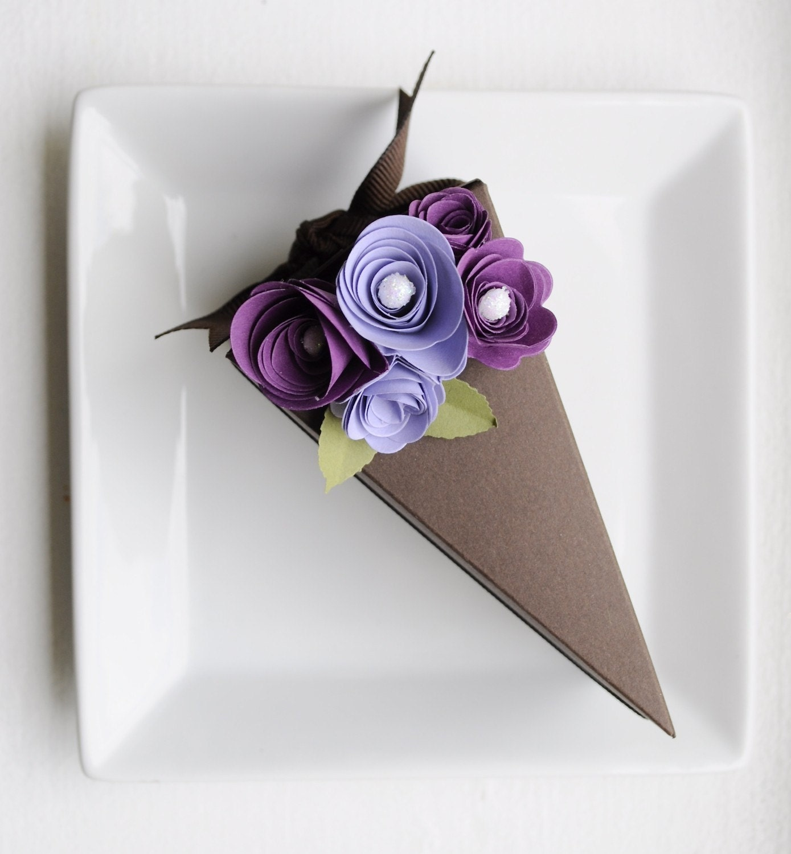 paper chocolate cake slice favor box with purple flowers 1. Black Bedroom Furniture Sets. Home Design Ideas