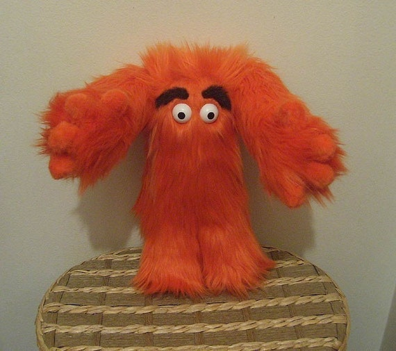 Grumbelly Monster Plush  Medium 10 Inch size With Hands, ORANGE Color - Made To Order