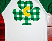 Girls or Boys St Patricks Day Shamrock Shirt Initial Personalized Shirt or Onesie for girl, baby and toddler