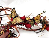 Head Wreath, Berries and Butterflies in Rust and Gold