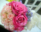 Silk Bridal Bouquet, Pink Roses and Periwinkle Hydrangea