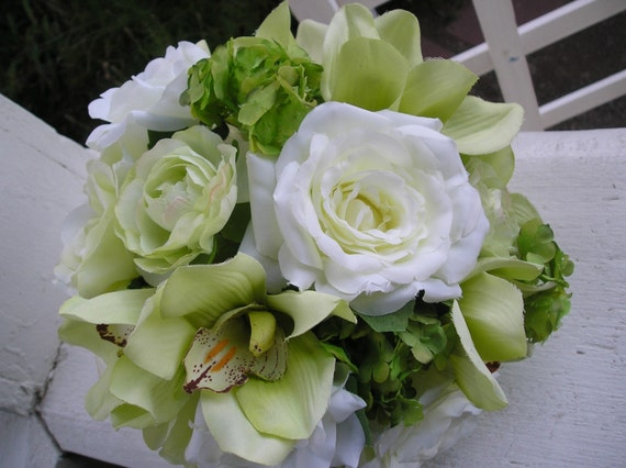Cymbidium Orchids and Roses Hand-Tied Bouquet