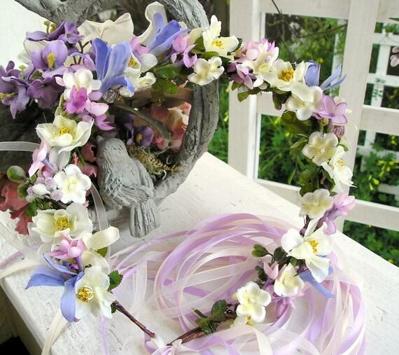 Ivory and Purple Head Wreath