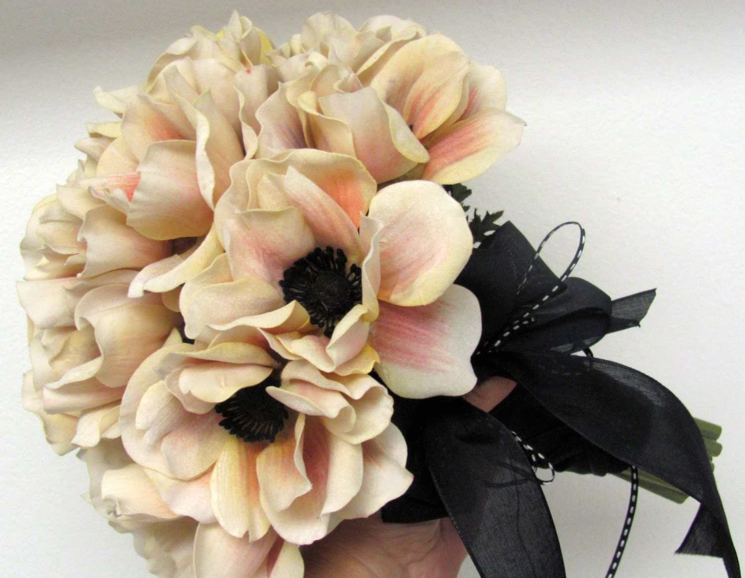 Bridal Bouquet Blush Pink Anemones Custom Colors And