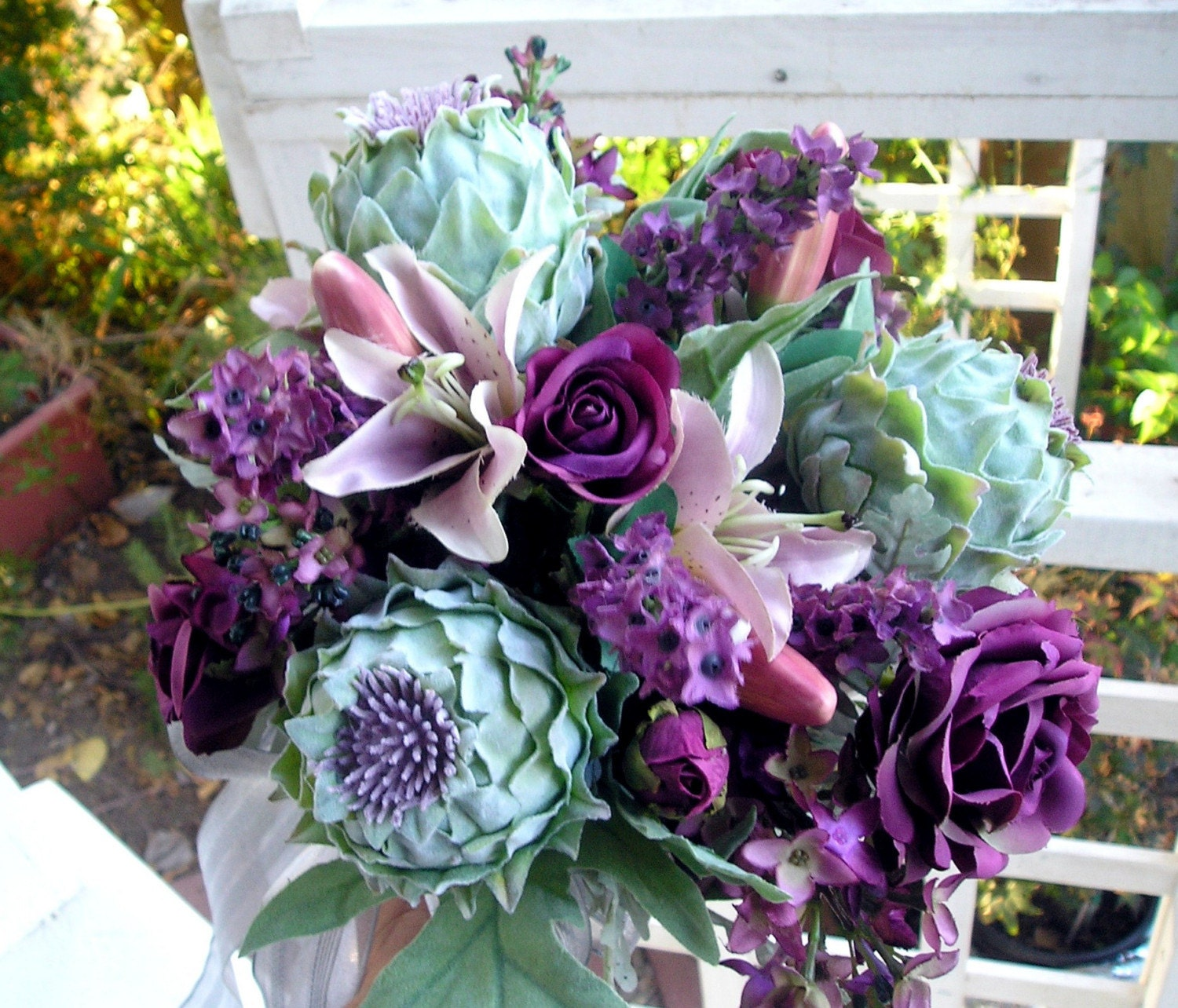 wholesale silk wedding bouquets silk bridal bouquet 50 purple roses and blooming 1387