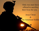 TWO MEN Print - Military, Army, Navy, Marines, Air Force, Coast Guard, National Guard, Jesus, Christ, Faith, Scripture, Paper Goods