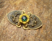 Bogo sale - Vintage Victorian rhinestone brass and celluloid brooch - Free shipping