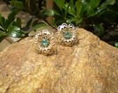 Bogo sale - Vintage floral rhinestone screw back earrings