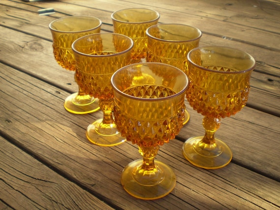 Reduced -  Vintage set of 6 amber depression glass goblets - Bogo sale