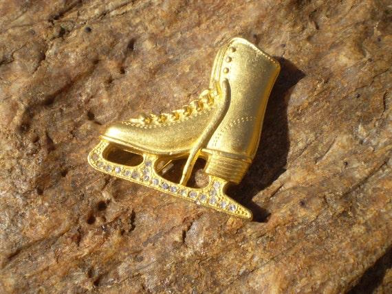 Bogo sale - Vintage gold tone and rhinestone ice skate brooch