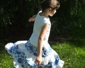 Blue and White Skirt, Tiered Skirt, Panama skirt- girls size 6 to 8