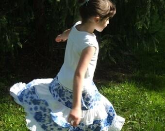 Blue and White Skirt, Tiered Skirt, Panama skirt- girls size 6 to 8