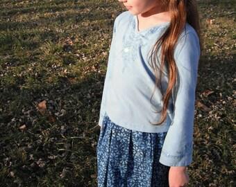 Blue Batiked Skirt and Bandana Kerchief Girls Size 6