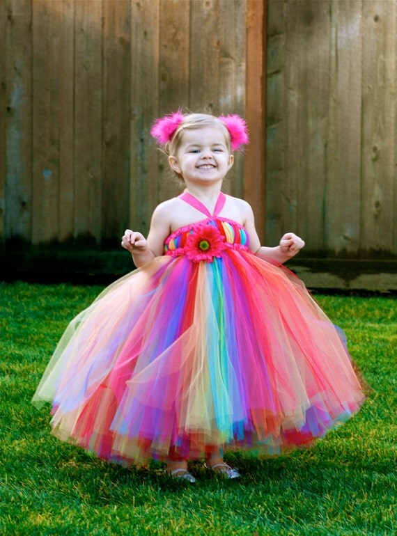Custom Listing for Alicia - Rainbow Bright Tutu Dress - for Weddings, Birthdays, Pageants and more