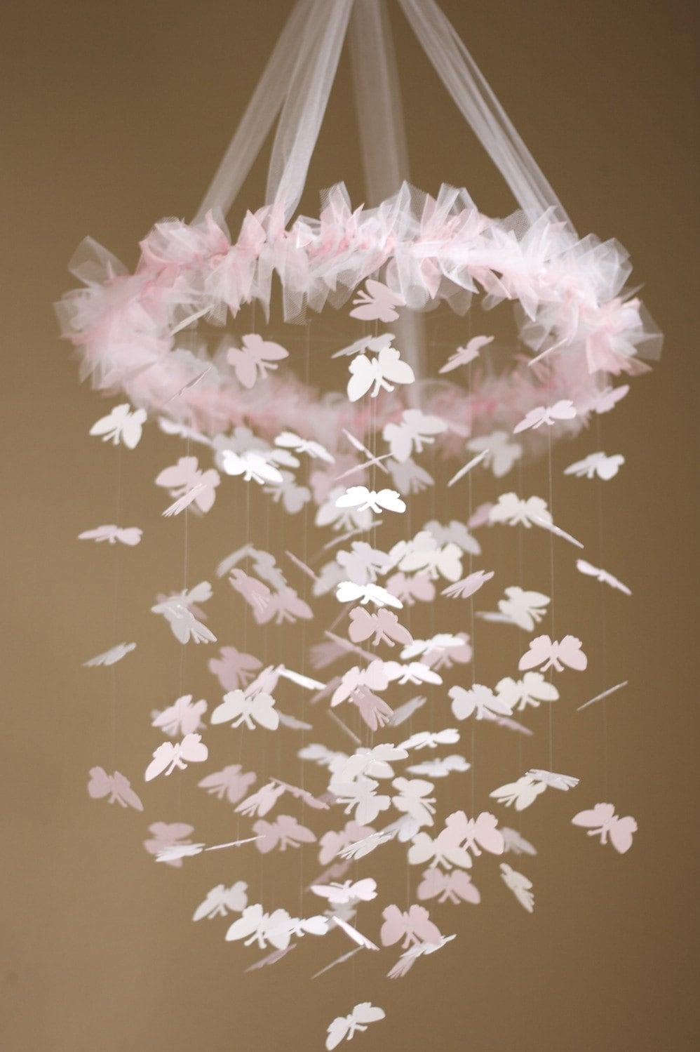 Sweet pink butterfly chandelier kit diy great craft - Diy chandelier kit ...