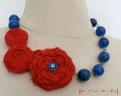 Scarlet Red Rose And Cobalt Blue Agate Gemstones Statement Necklace